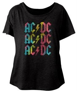 AC/DC Ladies Shirt Multicolor Band Logo Dolman Black T-Shirt