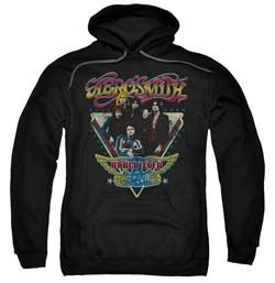 Aerosmith Hoodie Sweatshirt Triangle Stars Black Adult Hoody Sweat Shirt