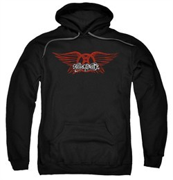 Aerosmith Hoodie Sweatshirt Winged Logo Black Adult Hoody Sweat Shirt