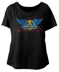 Aerosmith Ladies Shirt Triangle Band Logo Black Dolman T-Shirt