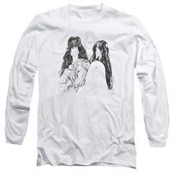 Aerosmith Shirt Draw The line Long Sleeve White Tee T-Shirt