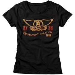 Aerosmith Shirt Juniors Permanent Vacation Tour 87-88 Black T-Shirt