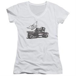 Aerosmith Shirt Juniors V Neck Pump White T-Shirt