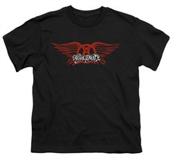 Aerosmith Shirt Kids Winged Logo Black Youth Tee T-Shirt