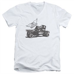 Aerosmith Shirt Slim Fit V-Neck Pump White T-Shirt