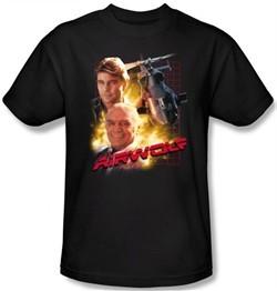 Airwolf T-shirt Airwolf Collage Adult Black Tee Shirt