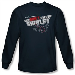 Airplane Shirt Dont Call Me Shirley Long Sleeve Navy Tee T-Shirt