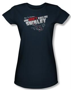Airplane Shirt Juniors Dont Call Me Shirley Navy Tee T-Shirt