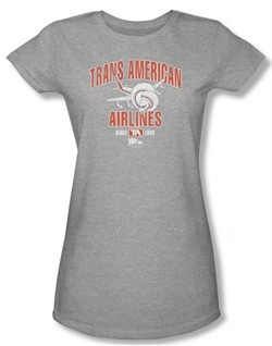 Airplane Shirt Juniors Trans American Athletic Heather Tee T-Shirt