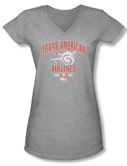 Airplane Shirt Juniors V Neck Trans American Athletic Heather Tee T-Shirt