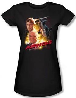 Airwolf Juniors T-shirt Airwolf Collage Black Tee Shirt