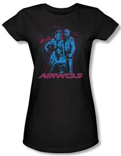 Airwolf Juniors T-shirt Graphic Black Tee Shirt
