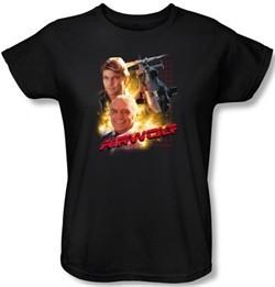 Airwolf Ladies T-shirt Airwolf Collage Black Tee Shirt