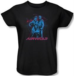Airwolf Ladies T-shirt Graphic Black Tee Shirt