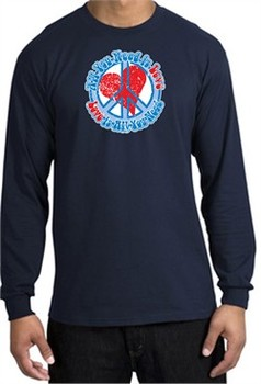 Peace Sign T-shirt All You Need Is Love Long Sleeve Tee Navy