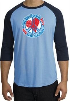 Peace Sign Shirt All You Need Is Love Raglan Tee Carolina Blue/Navy