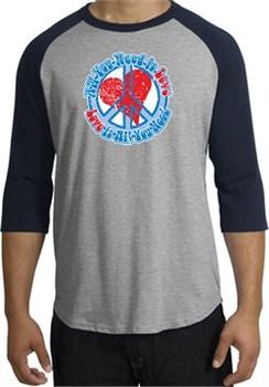 Peace Sign Shirt All You Need Is Love Raglan Tee Heather Grey/Navy