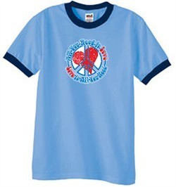 Peace Sign T-shirt All You Need Is Love Ringer Tee Carolina Blue/Navy