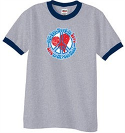 Peace Sign T-shirt All You Need Is Love Ringer Tee Heather Grey/Navy