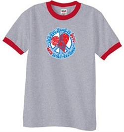 Peace Sign T-shirt All You Need Is Love Ringer Tee Heather Grey/Red