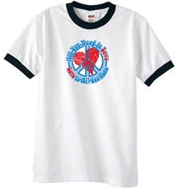 Peace Sign T-shirt All You Need Is Love Ringer Tee White/Black