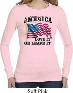 America Love It or Leave It Ladies Long Sleeve Thermal Shirt
