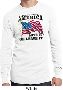 America Love It or Leave It Mens White Long Sleeve Thermal Shirt