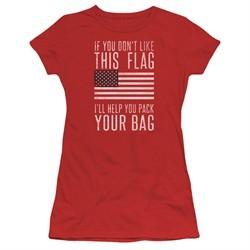 American Flag Juniors Shirt Pack Your Bag Red T-Shirt