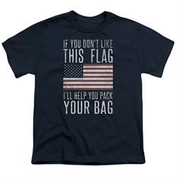 American Flag Kids Shirt Pack Your Bag Navy T-Shirt