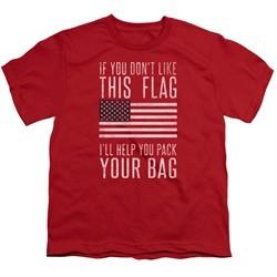 American Flag Kids Shirt Pack Your Bag Red T-Shirt