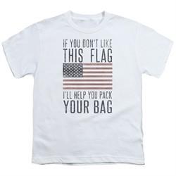 American Flag Kids Shirt Pack Your Bag White T-Shirt
