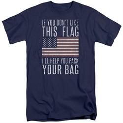 American Flag Shirt Pack Your Bag Navy Tall T-Shirt
