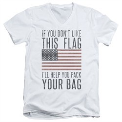 American Flag Slim Fit V-Neck Shirt Pack Your Bag White T-Shirt
