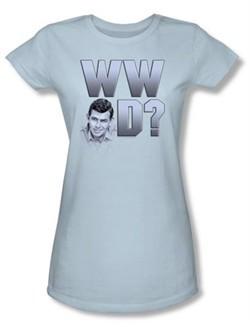 Andy Griffith Show Juniors Shirt WWAD Light Blue T-shirt Tee