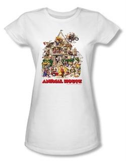 Animal House Juniors T-shirt Movie Poster Art White Tee Shirt