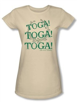 Animal House Juniors T-shirt Movie Toga Time Cream Tee Shirt