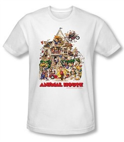 Animal House Slim Fit T-shirt Movie Poster Art Adult White Tee Shirt
