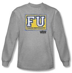 Animal House T-shirt Faber University Athletic Heather Long Sleeve Tee
