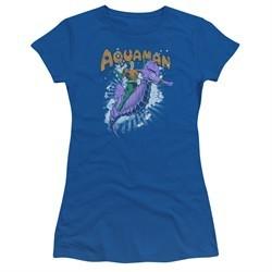 Aquaman Juniors Shirt Ride Free Royal Blue T-Shirt
