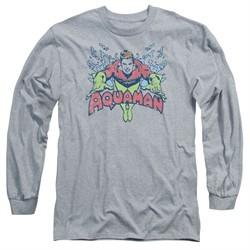 Aquaman Long Sleeve Shirt Splish Splash Athletic Heather Tee T-Shirt