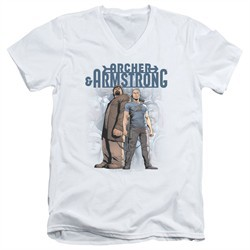 Archer & Armstrong Slim Fit V-Neck Shirt Stare Down White T-Shirt