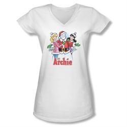 Archie Shirt Juniors V Neck Snowman Fall White T-Shirt