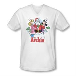 Archie Shirt Slim Fit V-Neck Snowman Fall White T-Shirt