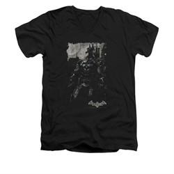 Arkham Knight Shirt Slim Fit V-Neck Grey Photo Black T-Shirt