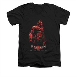 Arkham Knight Shirt Slim Fit V-Neck Red Suit Black T-Shirt