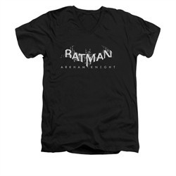 Arkham Knight Shirt Slim Fit V-Neck Splintered Logo Black T-Shirt