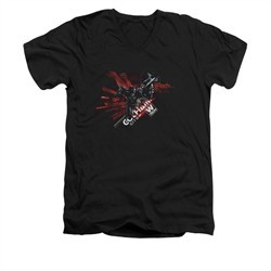 Arkham Knight Shirt Slim Fit V-Neck W Tech Black T-Shirt