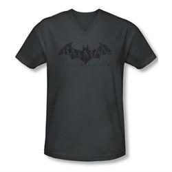 Arkham Origins Shirt Slim Fit V-Neck Distressed Logo Charcoal T-Shirt
