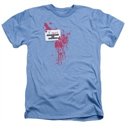 Army Of Darkness Shirt S Mart Name Tag Heather Light Blue T-Shirt