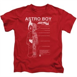 Astro Boy Kids Shirt Schematics Red T-Shirt